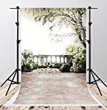 Scenic White Flowers Photography Backdrops 5x7ft Brick Floor Family Balcony Tree Photo Background for Children Studio Video