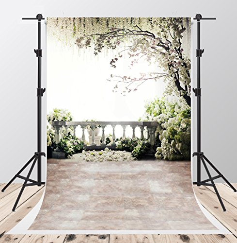Scenic White Flowers Photography Backdrops 5x7ft Brick Floor Family Balcony Tree Photo Background for Children Studio Video (Photos Scenic)