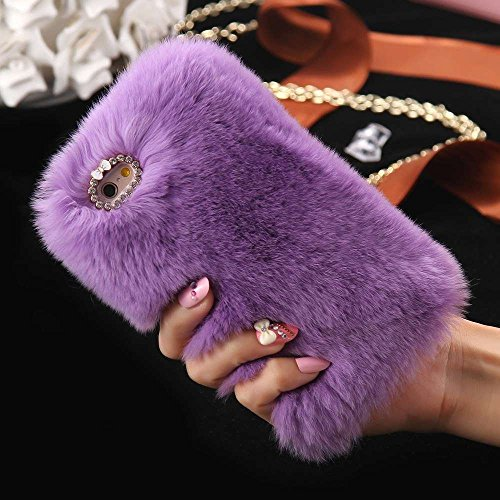 iPhone 8 / iPhone 7 Case, FLOVEME [Slim Fit] [Bling Diamond] Luxury Winter Soft Warm Faux Rabbit Fur Fuzzy Plush with Crystal Cute Bowknot Protective Back Cover for Girls Xmas Gift, Light Purple