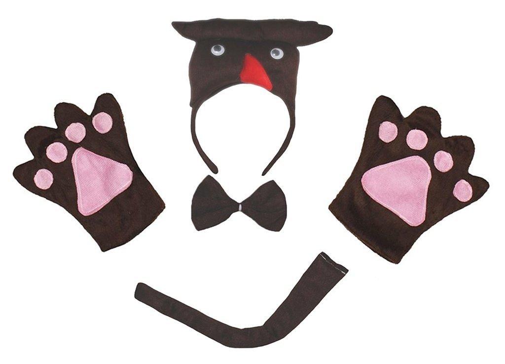 Petitebelle 3D-Stirnband Bowtie Schwanz Handschuhe Unisex Adult 4pc Kostüm Einheitsgröße 3D Owl