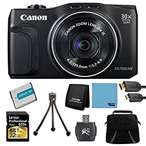 Canon PowerShot SX700 HS 16.1MP HD 1080p Digital Camera Black Ultimate Kit Includes Camera, 32GB Professional 633x SDHC Class 10 UHS-I/U3 Memory Card Up to 95 Mb/s, battery, gadget bag, HDMI cable, card reader, memory card wallet and mini tripod