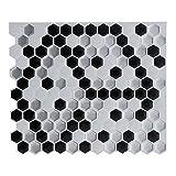 Geometric Figure Anti-Mold Peel and Stick Tile Backsplash -Marble Hexagon Tile for Kitchen Bathroom, Faux Ceramic Tile Design(5 Tiles)