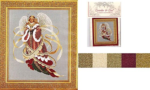 Designers Cross Lavender Stitch - Lavender & Lace Cross Stitch Chart w/Mill Hill Bead Set Angel of Christmas #39