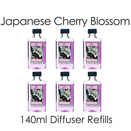 Aromatherapy Hosley Premium, Japanese Cherry Blossoms, Highly Scented, Reed Diffuser Refill Oil- Set of 6 / 140 ml (4.73 fl oz) Each - Made in USA. BULK BUY. Ideal GIFT for weddings, spa, Bathroom