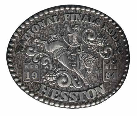 - 1984 Hesston National Finals Rodeo Belt Buckle -- Saddle Bronc Riding -- Mint Condition