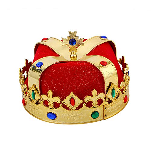 BaronHong Prince King Crown Halloween Festival Show Birthday Party Deco(red,M) ()