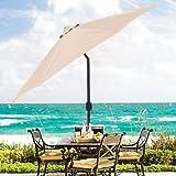 Cheap Patio Umbrella 9′ Aluminum Patio Market Umbrella Tilt w/ Crank Outdoor Beige