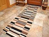 Washable Patchwork Anti Slip Mats Runners Rug Carpet Indoor Kitchen Hallway Doormat UK (Choco/Black, 57cm x 180cm)