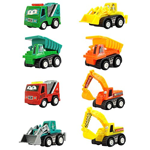 AMGlobal Pull Back Vehicles, Mini Push Pull Back Car, 8 Pcs Assorted Construction Vehicles Toys, Kids Pull Back Racer Cars Toy Play Set, Vehicle Play Set For Children For Fun