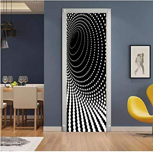 QiZhan541 Door stickerCreative 3D Dazzle Point Door Sticker DIY Home Decor Decals Self Adhesive Wallpaper Waterproof Mural for Bedroom Door Renovation 77 × 200cm