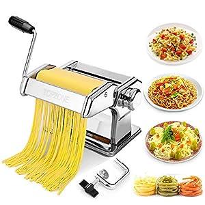 TOPZONE Macchina per la pasta manuale manuale con manovella e tagliapasta, 7 impostazioni regolabili per pasta fresca…