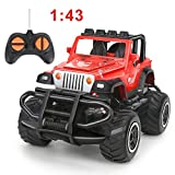 BeebeeRun Remote Control Car, 1:43 Scale Mini Jeep Vehicle for Kids, RC Sports Racing Hobby for Boys Girls (Red)