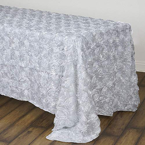 QueenDream Rectangle Rosette Overlay Tablecloth 90x132 in White