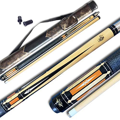 - TaiBA 2-Piece Pool Stick + Hard Case, 13mm Tip, 58