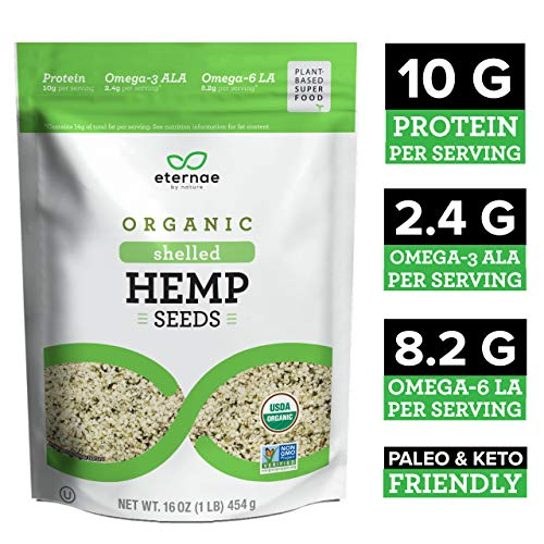 Eternae By Nature Organic Raw Shelled Hemp Seeds, 16 Oz - Non-GMO, Gluten-Free - 10g of Protein, Omega-3 ALA & Omega-6 ALA - Salad, Smoothies, Cereals, Yogurt.
