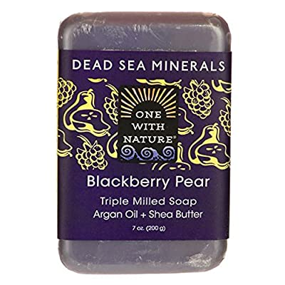 One With Nature Blackberry Pear Soap (Pack of 2) With Dead Sea Minerals, Argan Oil and Shea butter, 7 oz. Each