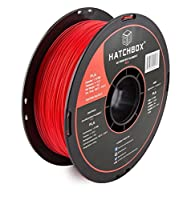 HATCHBOX PLA 3D Printer Filament, Dimensional Accuracy +/- 0.03 mm, 1 kg Spool, 1.75 mm, Red by HATCHBOX
