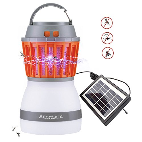 Anordsem Insect Zapper LED Camping Light Rechargeable Tent Lantern with Bug Zapper Function USB Charging and Solar Charging for Outdoor Camping Hiking, Mosquitoes Control (Gray, 1 Pieces)