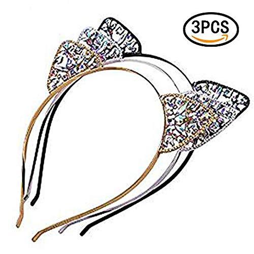 Rocutus 3pcs Hair Hoops Cat Ear Headband Metal Glitter Headwear Hair Hoops Cat Ear Headband Metal Glitter Headwear for Women]()