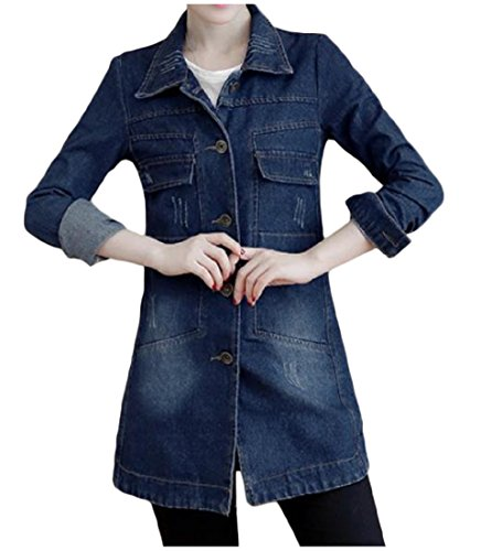 Fit Blue Jackets Denim Plus Breasted Dark Lapel Size aicessess Women Single Silm xqPpwx0nB
