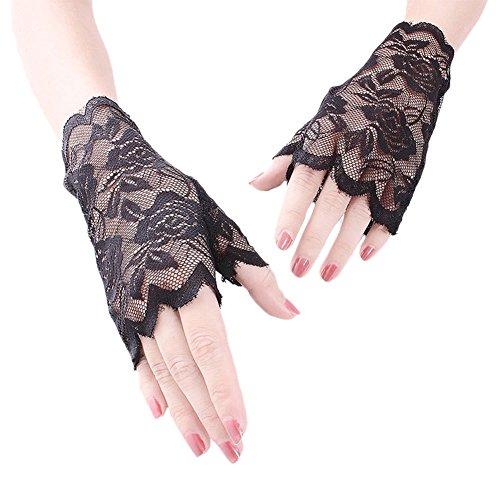 Ealafee Wedding Accessories Lace Gloves for Brides Black Fingers Evening Gloves (Wrist Bridal Gloves Length)