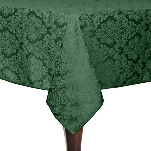 Ultimate Textile Saxony 45 x 45-Inch Square Damask Tablecloth Hunter Christmas Green (Brocade Poly)