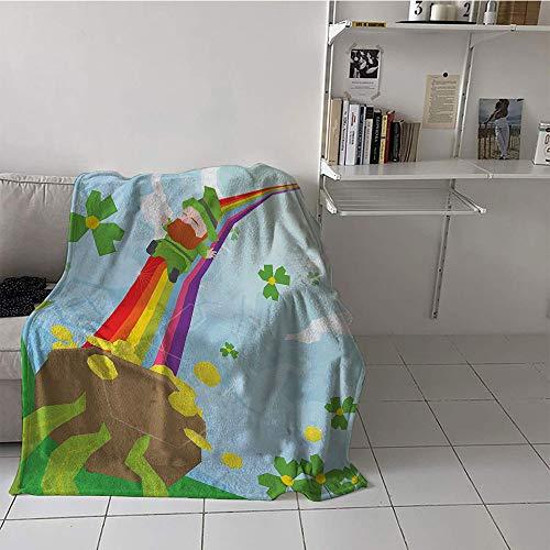 St Patricks Day Guitar - Khaki home Children's Blanket Lightweight Microfiber All Season Blanket (60 by 80 Inch,St. Patricks Day,Abstract Cartoon Happy Leprechaun Sliding Down Rainbow Gold and Shamrock,Multicolor