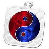 3dRose Metallic Prism Art - Image of Metallic Yin Yang Symbol - 8x8 Potholder (phl_279915_1)