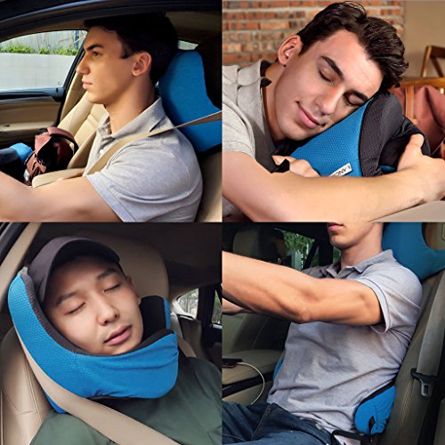 LANGRIA 6-in-1 Memory Foam Neck Support Travel Pillow with Detachable Hood Adjustable Neck Size for All Ages Side Elastic Pocket Neck Travel Cushion for Plane Train Car Bus Office (Blue) by LANGRIA (Image #6)