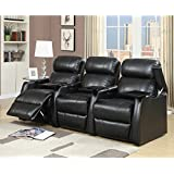 Elements International Cecille 3 Piece Home Theater Power Recliner Set