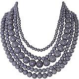 Humble Chic Marbled Bead Necklace - Layered Multi-Strand Globe Statement Choker