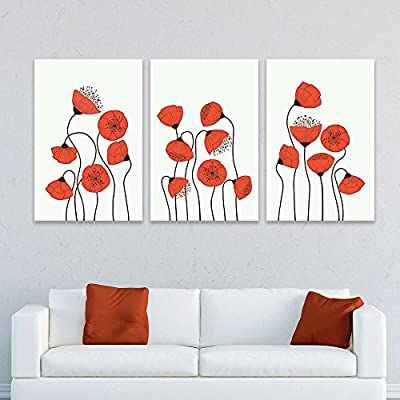 3 Panel Canvas Wall Art - Hand Drawing Style Red Flowers - Giclee Print Gallery Wrap Modern Home Art Ready to Hang - 24