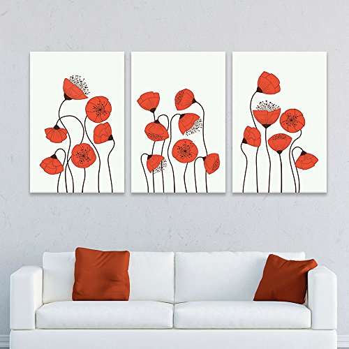 3 Panel Hand Drawing Style Red Flowers x 3 Panels