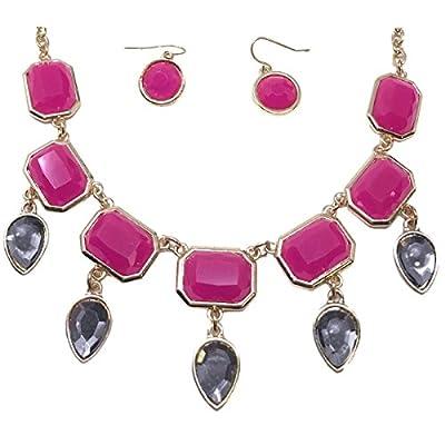 Wholesale Women's Fashion Pink Teardrop Bib Collar Statement Jewelry Earring Necklace Set