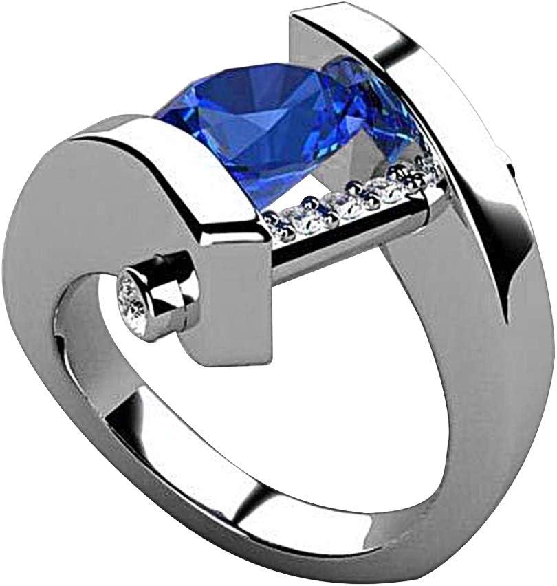 KimcHisxXv Anillo de plata de ley de acero inoxidable con piedras preciosas de imitación redondas y diamantes de imitación en espiral para novia, boda, regalo de joyería – plata US 10 US 10 plata