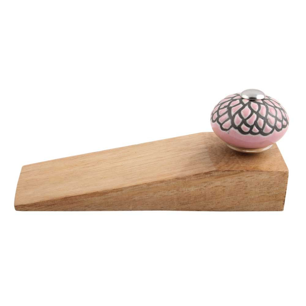 IndianShelf Handmade Pink And Black Etched Wooden Ceramic Door Stoppers Premium Stop Wedge Work On All Floors Non Stretching Strong Grip by Indian Shelf (Image #2)