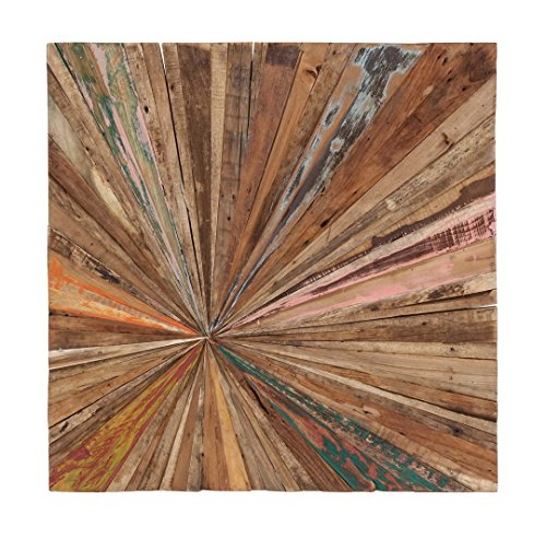 - Teak Abstract Wall Decor - Square