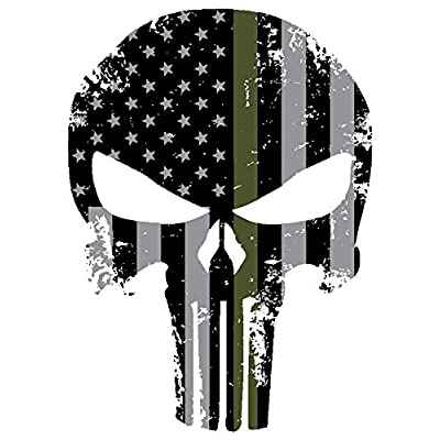Blueline Punisher Skull 5.5 x 4 Inch Thin Green Line Tattered Subdued Us Flag. 3M Highly Reflective Vinyl Decal: Automotive