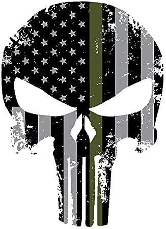 Non-Reflecitve Punisher Decal BLACK Molon Labe Punisher Flag Military Graphic