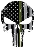 Punisher Skull 5.5 x 4 Inch Thin Green Line Tattered Subdued Us Flag. 3M Highly Reflective Vinyl Decal