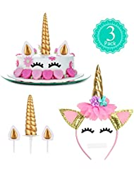 Unicorn Cake Topper, Lecorn Happy Birthday Cake Topper Set Include Unicorn Horn, Ears and Eyelashes, Unicorn Headband for Birthday Party, Baby Shower and Wedding Party (Gold)