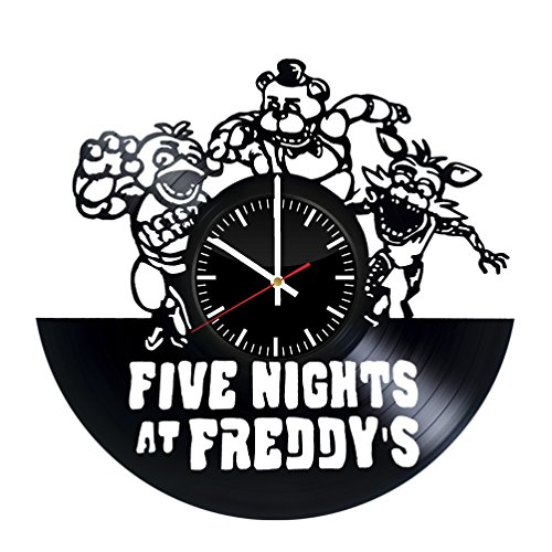 Five Nights at Freddy's Vinyl Record Wall Clock . Get unique home room wall art decor. Cool gift ideas for boys, girls, kids, teens, men and women. (Chica Five Nights At Freddys Fan Art)