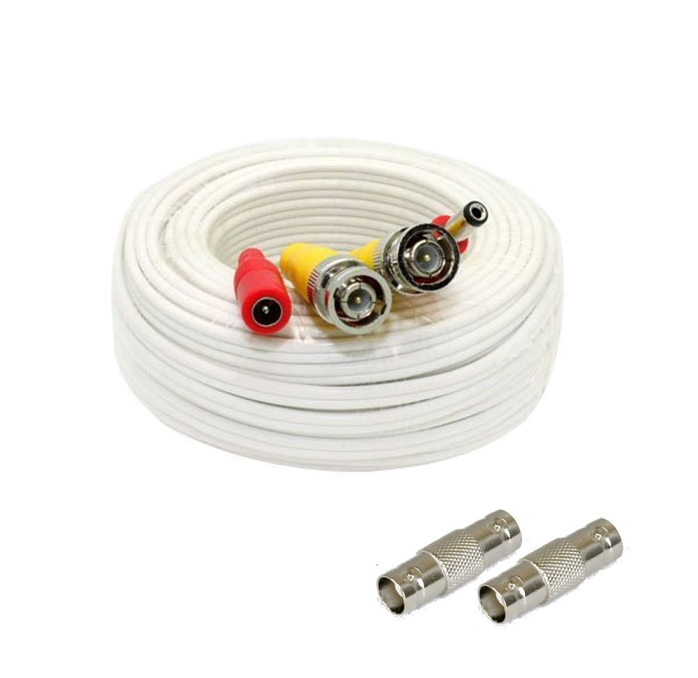 Pre-made All-in-One BNC Video and Power Cable Wire Cord with Connector for CCTV Security Camera (25Ft, 50Ft, 60Ft, 100Ft, 125Ft, 150Ft, 200Ft available)