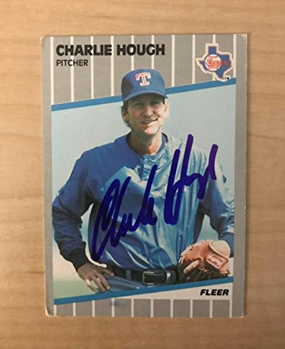 CHARLIE HOUGH TEXAS RANGERS SIGNED AUTOGRAPHED 1989 FLEER CARD #522 W/COA