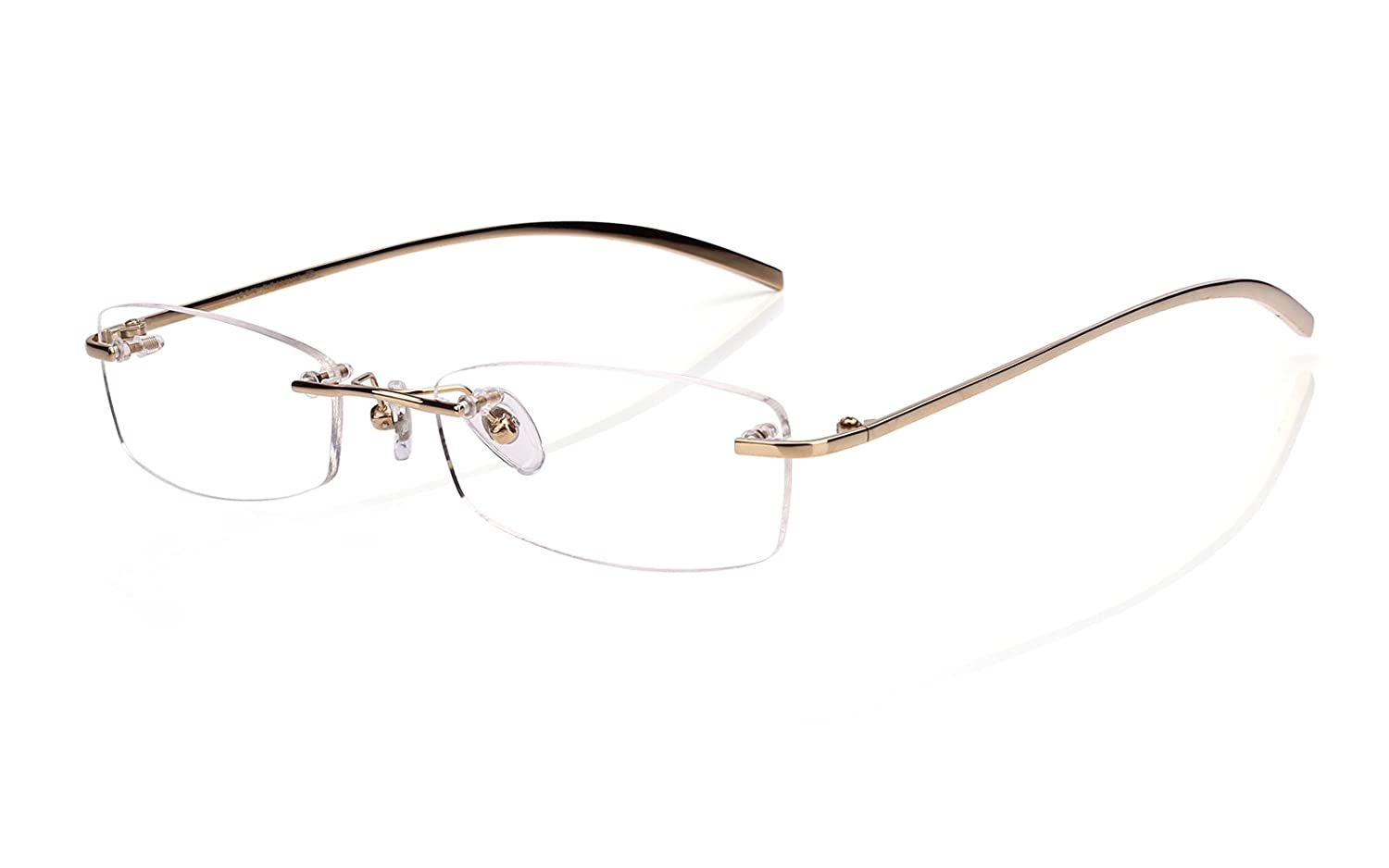 24d9a4954e Amazon.com  Agstum Pure Titanium Rimless Glasses Prescription Eyeglasses Rx  (Black
