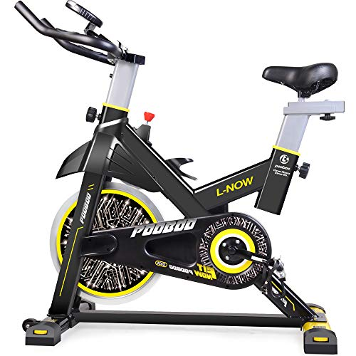 pooboo Indoor Cycling Bicycle, Belt Drive Indoor Exercise Bike,Stationary Exercise LCD Display Bicycle Heart Pulse Trainer Bike Bottle Holder by pooboo (Image #8)