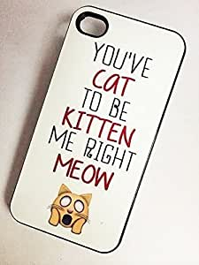 AWU DIYBeautifulcase BLACK cell phone case cover for iPhone 4 4S YOU'VE CAT TO BE KITTEN ME 1zwLeAM4AGM RIGHT MEOW
