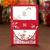 Chinese Red Traditional Style Laser Cutting Invitation cards, wedding party invitation card, Customizable Inner sheet (red, 100)