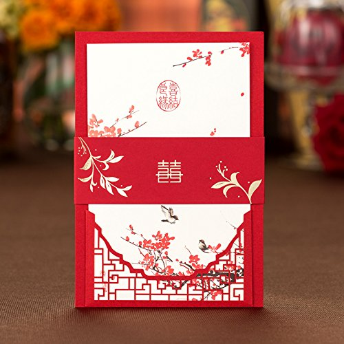 Wedding Invitations Chinese Red Traditional Style Laser Cutting Invitation cards with red envelopes Party Favors (red, 50)