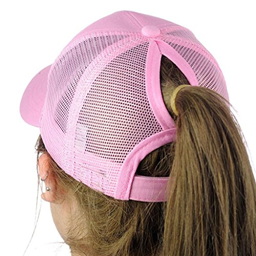 Price comparison product image Funic Clearance Sale Women Baseball Caps Snapback Hat Hip-Hop Adjustable Hats with Ponytail Hole (Pink)